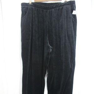 Catherines Velour Black pants 1X 26 / 28 W NWT